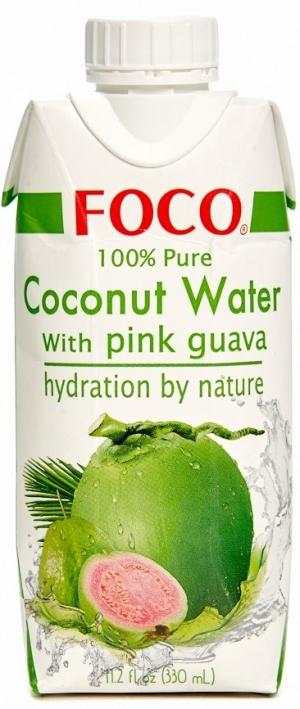 Кокосовая вода FOCO с розовой гуавой, 330мл