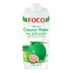 Кокосовая вода FOCO с розовой гуавой, 500мл